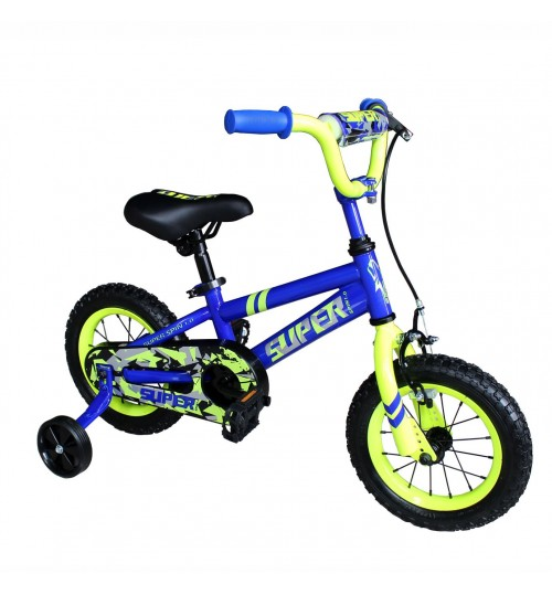 OTLIVE Kids Dirt Bike Boys Bikes 12 inch with Training Wheels BMX Road Bicycle Blue